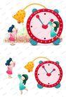 可爱小仙子0117,可爱小仙子,彩绘人物情景模板,时钟 扳动 童真