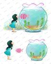 可爱小仙子0118,可爱小仙子,彩绘人物情景模板,玻璃 鱼缸 接吻