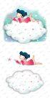 可爱小仙子0121,可爱小仙子,彩绘人物情景模板,趴卧 白云 小女孩