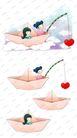 可爱小仙子0123,可爱小仙子,彩绘人物情景模板,纸折 小船 垂心