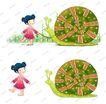 可爱小仙子0125,可爱小仙子,彩绘人物情景模板,牵引 蜗牛 脖子