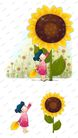 可爱小仙子0126,可爱小仙子,彩绘人物情景模板,向日葵 花冠 向阳
