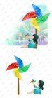 可爱小仙子0130,可爱小仙子,彩绘人物情景模板,彩色 风车 女孩
