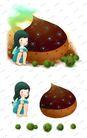 可爱小仙子0131,可爱小仙子,彩绘人物情景模板,蹲坐 孤独 少女