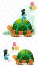 可爱小仙子0133,可爱小仙子,彩绘人物情景模板,乌龟 背上 气球