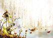 四季风景0005,四季风景,彩绘人物情景模板,松鼠 冬天 湖水 结冰 滑冰 风景 油画 漫画 韩国风景 韩国彩绘