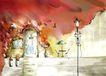 四季风景0006,四季风景,彩绘人物情景模板,台阶 灯光 家门 油彩 载盆 风景 油画 漫画 韩国风景 韩国彩绘