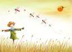 四季风景0007,四季风景,彩绘人物情景模板,稻草人 蜻蜓 稻田 太阳 和谐 风景 油画 漫画 韩国风景 韩国彩绘