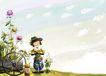 四季风景0009,四季风景,彩绘人物情景模板,白云 车轮 搬运 花盆 喜悦 风景 油画 漫画 韩国风景 韩国彩绘