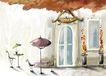 四季风景0013,四季风景,彩绘人物情景模板,咖啡 大门 玻璃 雅座 太阳伞
