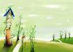 四季风景0017,四季风景,彩绘人物情景模板,信箱 小路 藤萝 城堡 青草
