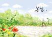 四季风景0019,四季风景,彩绘人物情景模板,池塘 清水 鲜花 栏杆 树林