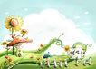 四季风景0022,四季风景,彩绘人物情景模板,向日葵 篱笆 蘑菇 童话 梦境
