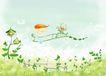 四季风景0023,四季风景,彩绘人物情景模板,飞船 梦想 花篮 发型 幻想