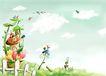 四季风景0026,四季风景,彩绘人物情景模板,春季 花开 绿意