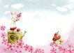 四季风景0027,四季风景,彩绘人物情景模板,小兔子 高兴 桃花 树桩 发芽