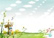四季风景0028,四季风景,彩绘人物情景模板,春意 鲜花 木牌