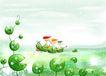 四季风景0029,四季风景,彩绘人物情景模板,绿叶 小船 伙伴 水波 划船
