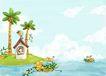 四季风景0031,四季风景,彩绘人物情景模板,海水 小岛 房子