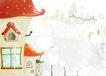 四季风景0034,四季风景,彩绘人物情景模板,下雪 外景 花房子