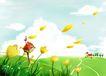 四季风景0045,四季风景,彩绘人物情景模板,卡通 漫画 花朵 花瓣 蓝天白云 春天 开发 草地