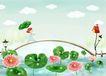 四季风景0048,四季风景,彩绘人物情景模板,桥 水路 荷花