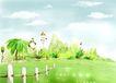 四季风景0053,四季风景,彩绘人物情景模板,栅栏 绿树 风景