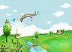 四季风景0054,四季风景,彩绘人物情景模板,天边 白云 小桥