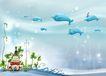 四季风景0055,四季风景,彩绘人物情景模板,海底 鱼儿 游泳