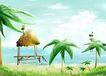 四季风景0058,四季风景,彩绘人物情景模板,椰树 热带 海岸
