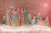 圣诞风景0003,圣诞风景,彩绘人物情景模板,礼物 丝带 夜空 包装盒 雪地