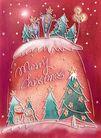 圣诞风景0004,圣诞风景,彩绘人物情景模板,星空 雪人 冬天 杉树 装饰