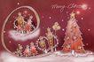 圣诞风景0007,圣诞风景,彩绘人物情景模板,梯子 咖啡色 夜晚 楼房 童话