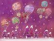 圣诞风景0008,圣诞风景,彩绘人物情景模板,降落伞 下雪 礼品 空降 雪杉