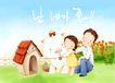 幸福家庭生活0002,幸福家庭生活,彩绘人物情景模板,花园 父女 狗狗 宠物 爱护 韩国彩绘 家庭 天伦之乐 一家人 父子 童话 玩乐 玩耍