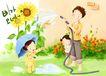 幸福家庭生活0003,幸福家庭生活,彩绘人物情景模板,雨伞 向日葵 散水 墙角 愉快 韩国彩绘 家庭 天伦之乐 一家人 父子 童话 玩乐 玩耍