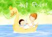 幸福家庭生活0009,幸福家庭生活,彩绘人物情景模板,沐浴 碧水 泡泡 小鹅 游泳 韩国彩绘 家庭 天伦之乐 一家人 父子 童话 玩乐 玩耍