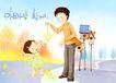 幸福家庭生活0010,幸福家庭生活,彩绘人物情景模板,欢呼 烟花 秋日 火花 教育 韩国彩绘 家庭 天伦之乐 一家人 父子 童话 玩乐 玩耍