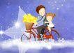 幸福家庭生活0011,幸福家庭生活,彩绘人物情景模板,自行车 载人 抱紧 安全 回头的爱 韩国彩绘 家庭 天伦之乐 一家人 父子 童话 玩乐 玩耍