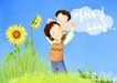 幸福家庭生活0014,幸福家庭生活,彩绘人物情景模板,草地 肩膀 宠爱 黄花 蓝天 韩国彩绘 家庭 天伦之乐 一家人 父子 童话 玩乐 玩耍