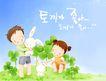 幸福家庭生活0016,幸福家庭生活,彩绘人物情景模板,爱抚 白兔 可爱 菜地 明媚 小孩 小朋友 两小无猜 童年 稚童 童话 玩乐 玩耍 彩绘
