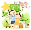 幸福家庭生活0022,幸福家庭生活,彩绘人物情景模板,眼镜 晨操 房子 锻炼 合作 小孩 小朋友 两小无猜 童年 稚童 童话 玩乐 玩耍 彩绘