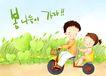 幸福家庭生活0026,幸福家庭生活,彩绘人物情景模板,心心相印 摩托车 驾驶 轻松 麦地 小孩 小朋友 两小无猜 童年 稚童 童话 玩乐 玩耍 彩绘