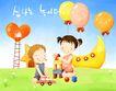 幸福家庭生活0027,幸福家庭生活,彩绘人物情景模板,幼儿园 玩具 小车 楼梯 月亮船 小孩 小朋友 两小无猜 童年 稚童 童话 玩乐 玩耍 彩绘