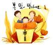 幸福家庭生活0031,幸福家庭生活,彩绘人物情景模板,中国结 一家三口 亲人