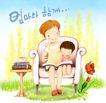 幸福家庭生活0036,幸福家庭生活,彩绘人物情景模板,沙发 看书 学习