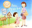 幸福家庭生活0038,幸福家庭生活,彩绘人物情景模板,上学 上班 车站