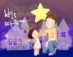 幸福家庭生活0039,幸福家庭生活,彩绘人物情景模板,星星 夜晚 屋外