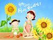 幸福家庭生活0042,幸福家庭生活,彩绘人物情景模板,鲜花 户外 野餐