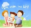 幸福家庭生活0046,幸福家庭生活,彩绘人物情景模板,文字 画画 美术